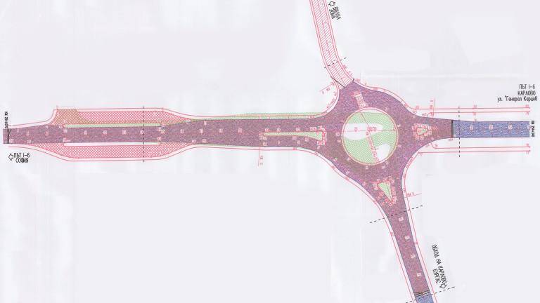 """""""ПСТ Груп"""" ЕАД започна изграждането на кръгово кръстовище на Подбалканския път I-6 при входа на град Карлово"""